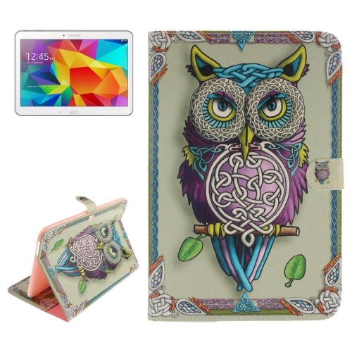 For Galaxy Tab 4 / 10.1 Owl Pattern Leather Case with Holder, Card Slots & Wallet