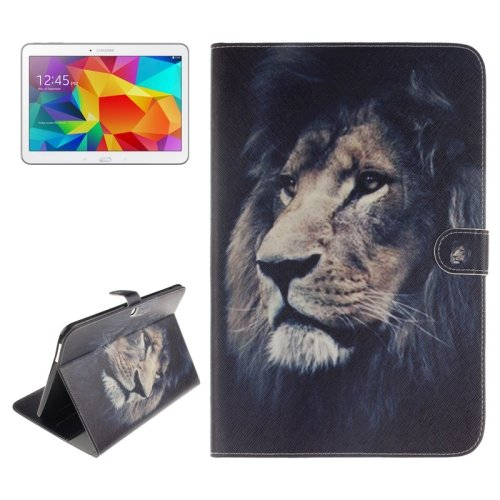 For Galaxy Tab 4 / 10.1 Lion Pattern Leather Case with Holder, Card Slots & Wallet
