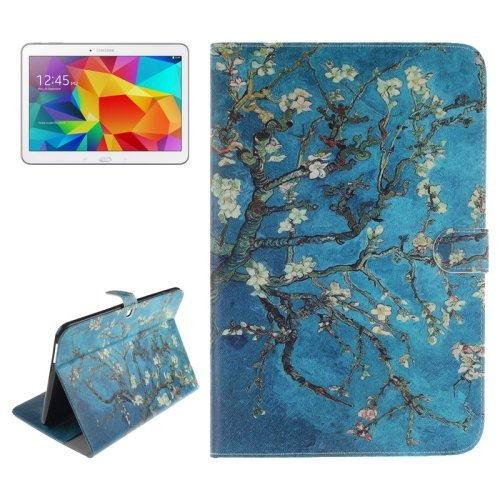 For Galaxy Tab 4 / 10.1 Plum Pattern Leather Case with Holder, Card Slots & Wallet