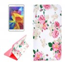 For Galaxy Tab 4 / 8.0 Chinese Rose Pattern Flip Leather Case with Holder