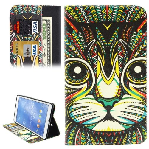 For Galaxy Tab 4 / 8.0 Cat Pattern Leather Case with Holder, Card Slots & Wallet