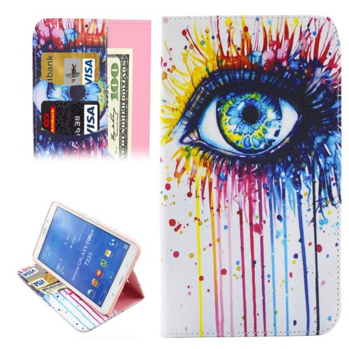 For Galaxy Tab 4 / 8.0 Drawing Eye Pattern Leather Case with Holder, Card Slots & Wallet