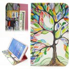 For Galaxy Tab 4 / 8.0 Colorful Tree Pattern Leather Case with Holder, Card Slots & Wallet