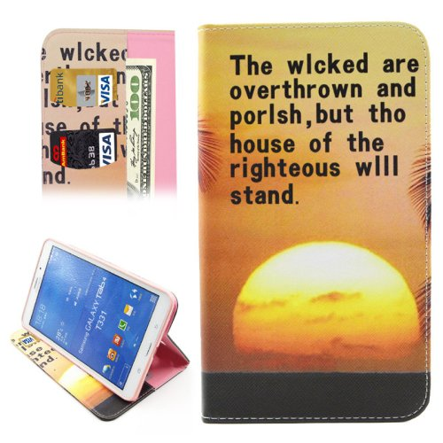 For Galaxy Tab 4 / 8.0 Sunset Pattern Leather Case with Holder, Card Slots & Wallet