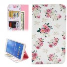 For Galaxy Tab 4 / 8.0 Chinese Rose Pattern Leather Case with Holder, Card Slots & Wallet