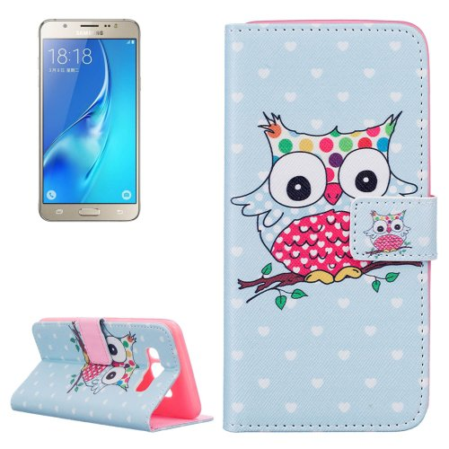 For Galaxy J5 (2016) Owl Pattern Leather Case with Holder, Card Slots & Wallet