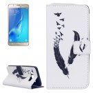 For Galaxy J5 (2016) Feather Pattern Leather Case with Holder, Card Slots & Wallet