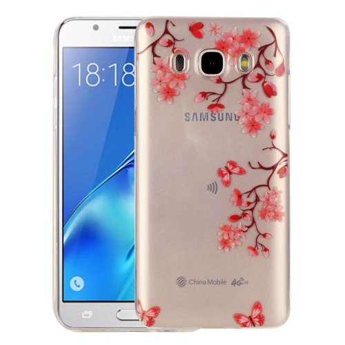 For Galaxy J5 (2016) Leaves Pattern IMD Workmanship Soft TPU Protective Case