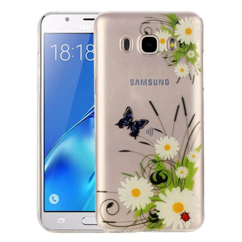For Galaxy J5 (2016) Chrysanthemum Pattern IMD Workmanship Soft TPU Protective Case