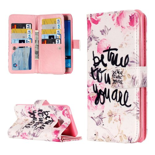 For Galaxy J5 (2016) You Are Pattern Flip Leather Case with 9 Card Slots, Wallet & Holder