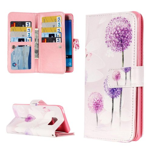 For Galaxy J5 (2016) Dandelion Pattern Flip Leather Case with 9 Card Slots, Wallet & Holder