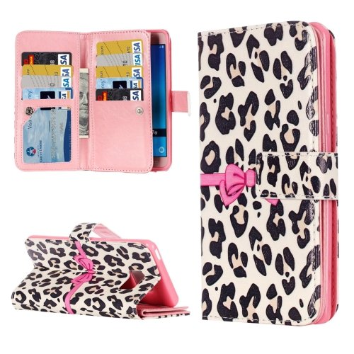 For Galaxy J5 (2016) Leopard Pattern Flip Leather Case with 9 Card Slots, Wallet & Holder
