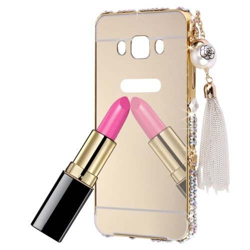 For Galaxy J5 (2016) Gold Diamond Encrusted Electroplating Mirror PC Protective Cover Case