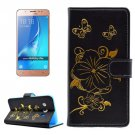 For Galaxy J5 (2016) Bronzing Butterfly Leather Case with Holder, Card Slots & Wallet - # Colors