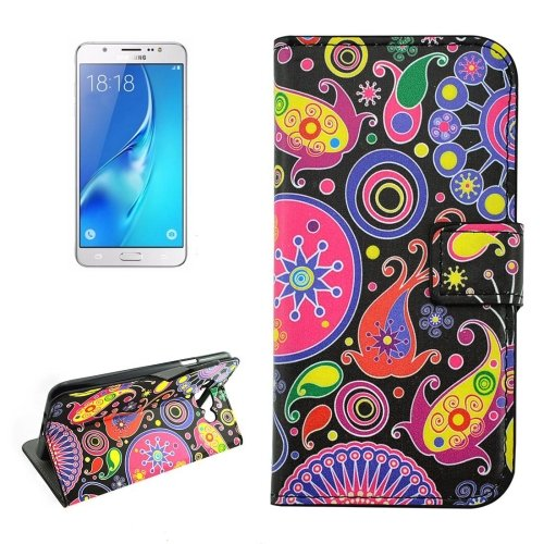 For Galaxy J5 (2016) Acaleph Pattern Flip Leather Case with Holder, Card Slots & Wallet