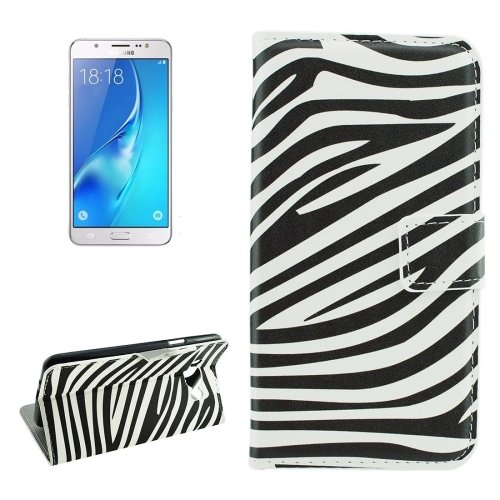 For Galaxy J5 (2016) Zebra Pattern Flip Leather Case with Holder, Card Slots & Wallet