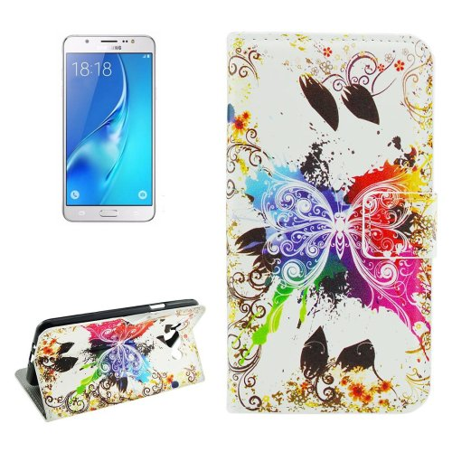 For Galaxy J5 (2016) Crystal Pattern Flip Leather Case with Holder, Card Slots & Wallet