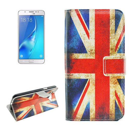 For Galaxy J5 (2016) UK Flag Pattern Flip Leather Case with Holder, Card Slots & Wallet