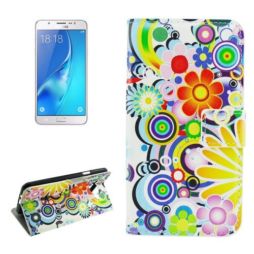 For Galaxy J5 (2016) Fireworks Pattern Flip Leather Case with Holder, Card Slots & Wallet