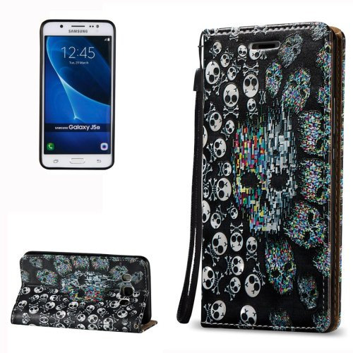 For Galaxy J5 (2016) 3D Relief Skull Pattern Leather Case with Holder, Card Slots & Lanyard
