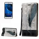 For Galaxy J5 (2016) 3D Relief Feather Pattern Leather Case with Holder, Card Slots & Lanyard