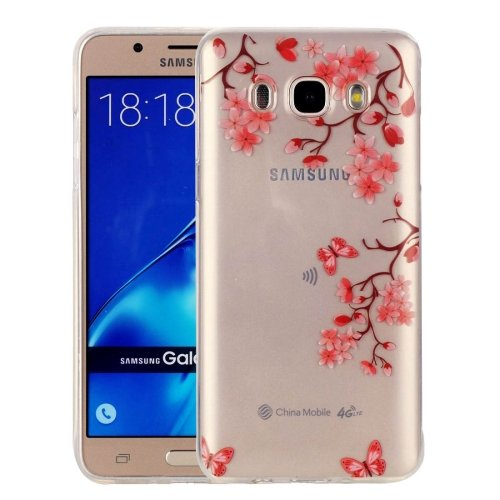 For Galaxy J7 (2016) Leaves Pattern IMD Workmanship Soft TPU Protective Case