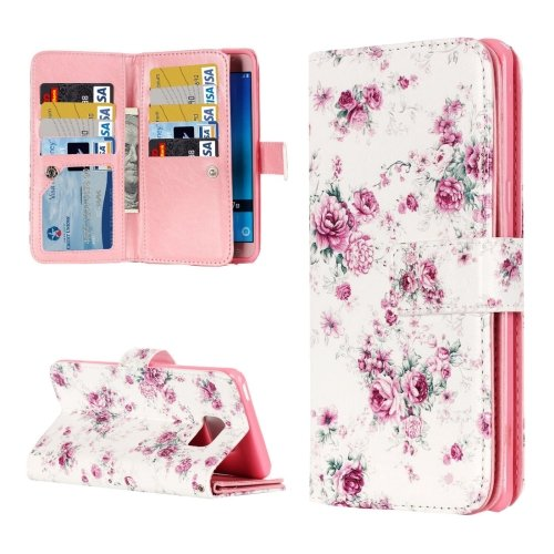 For Galaxy J7 (2016) Rose Flip Leather Case with 9 Card Slots, Wallet & Holder