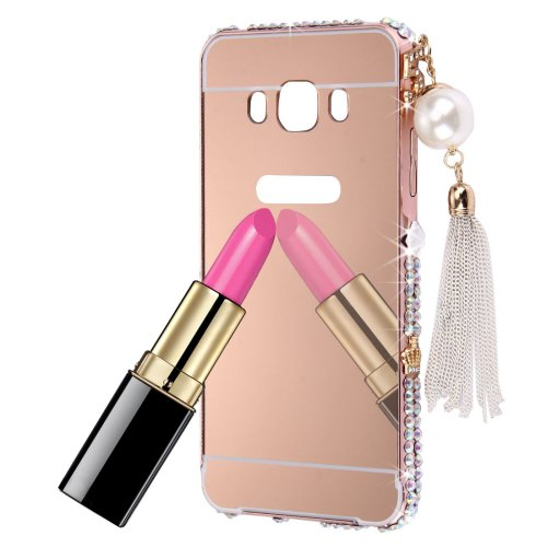For Galaxy J7 (2016) Rose Gold Diamond Encrusted Electroplating Mirror PC Protective Cover Case