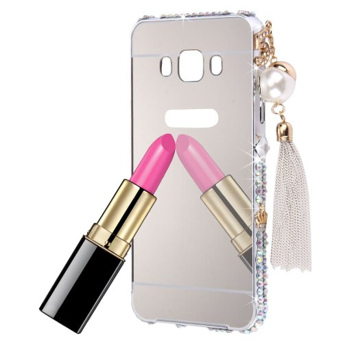 For Galaxy J7 (2016) Silver Diamond Encrusted Electroplating Mirror PC Protective Cover Case