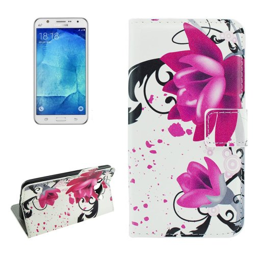 For Galaxy J7 (2016) Lotus Pattern Flip Leather Case with Holder, Card Slots & Wallet