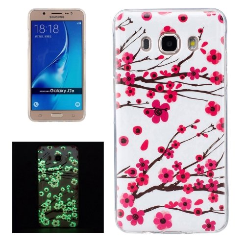 For Galaxy J7 (2016) Noctilucent Plum Pattern IMD Workmanship Soft TPU Back Cover Case