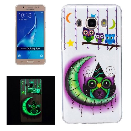 For Galaxy J7 (2016) Noctilucent Owls Pattern IMD Workmanship Soft TPU Back Cover Case