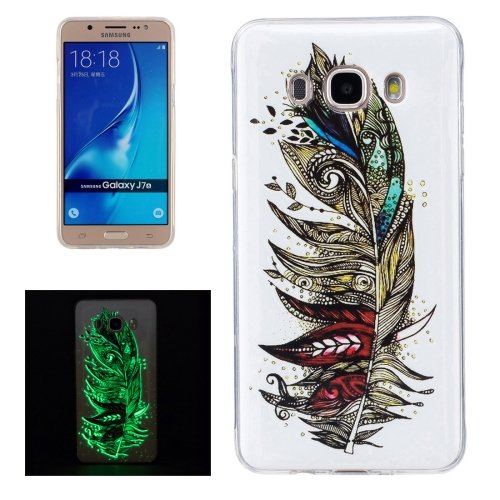 For Galaxy J7 (2016) Noctilucent Feather Pattern IMD Workmanship Soft TPU Back Cover Case