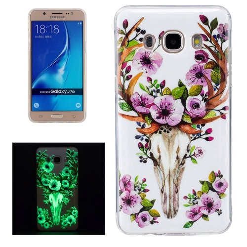 For Galaxy J7 (2016) Noctilucent Sika Deer Pattern IMD Workmanship Soft TPU Back Cover Case