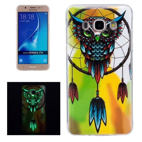 For Galaxy J7 (2016) Noctilucent Owl Pattern IMD Workmanship Soft TPU Back Cover Case