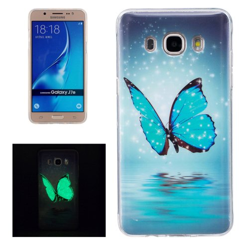 For Galaxy J7 (2016) Noctilucent Butterfly Pattern IMD Workmanship Soft TPU Back Cover Case
