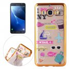 For Galaxy J7 (2016) Living Group Pattern Electroplating Frame Soft TPU Protective Case