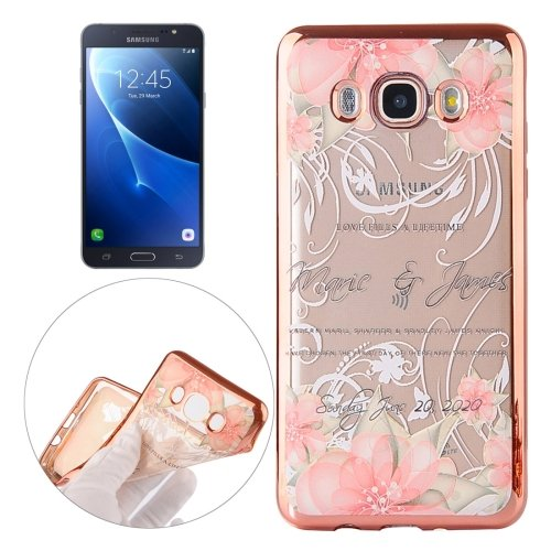 For Galaxy J7 (2016) Peacock Pattern Electroplating Frame Soft TPU Protective Case