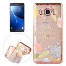For Galaxy J7 (2016) Leaves Pattern Electroplating Frame Soft TPU Protective Case