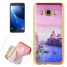 For Galaxy J7 (2016) Watercourse Pattern Electroplating Frame Soft TPU Protective Case