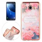 For Galaxy J7 (2016) Roses Pattern Electroplating Frame Soft TPU Protective Case