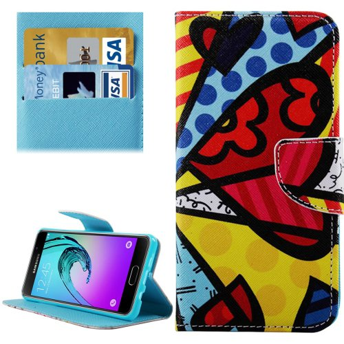 For Galaxy A3(2016) Heart Pattern Flip Leather Case with Holder, Card Slots & Wallet