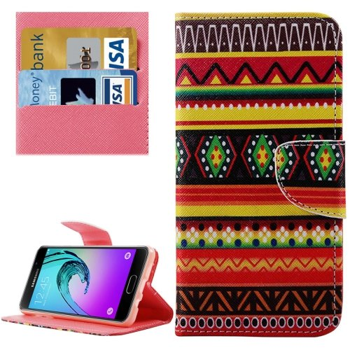 For Galaxy A3(2016) Aztec Pattern Flip Leather Case with Holder, Card Slots & Wallet