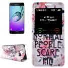 For Galaxy A3(2016) Flowers Pattern Flip Leather Case with Call Display ID & Holder