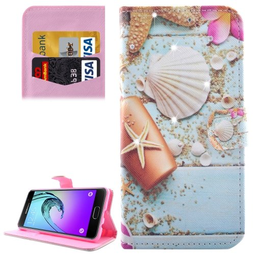 For Galaxy A3(2016) Starfish Diamond Encrusted Leather Case with Holder, Wallet & Card Slots