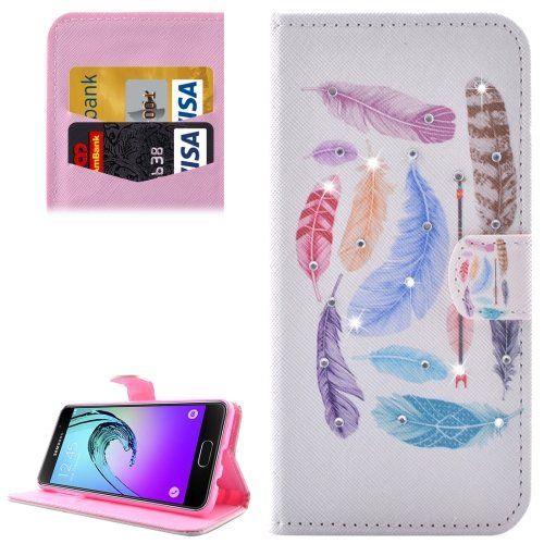 For Galaxy A3(2016) Feathers Diamond Encrusted Leather Case with Holder, Wallet & Card Slots
