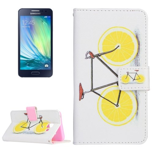 For Galaxy A3(2016) Lemon Pattern Flip Magnetic Leather Case with Holder, Card Slots & Wallet