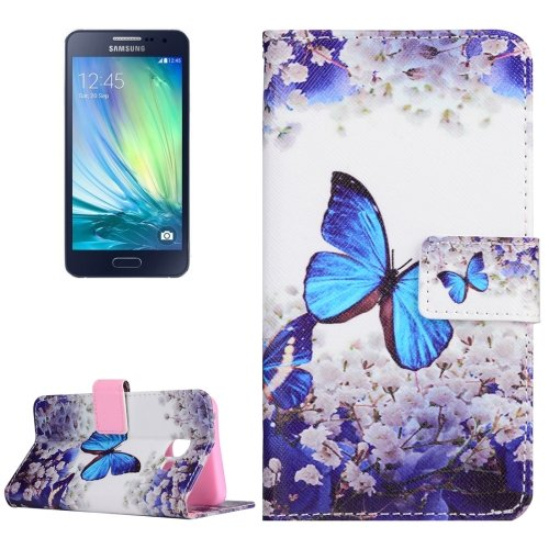 For Galaxy A3(2016) Butterfly Pattern Flip Magnetic Leather Case with Holder, Card Slots & Wallet