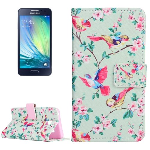 For Galaxy A3(2016) Birds Pattern Flip Magnetic Leather Case with Holder, Card Slots & Wallet