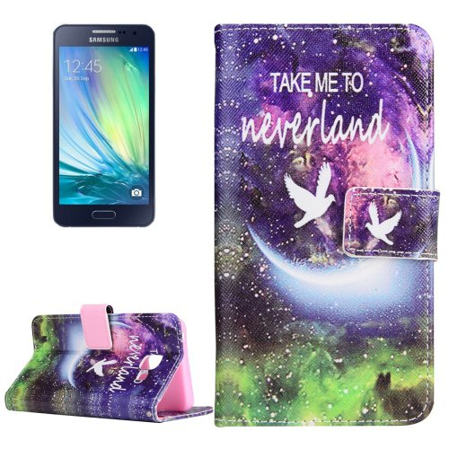 For Galaxy A3(2016) Neverland Pattern Flip Magnetic Leather Case with Holder, Card Slots & Wallet